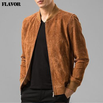 Men's real leather jacket Genuine Leather Baseball jacket men leather bomber jackets