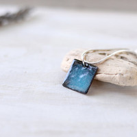 Blue enamel pendant - small dainty necklace square - sky blue and black copper and sterling silver - artisan jewelry by Alery