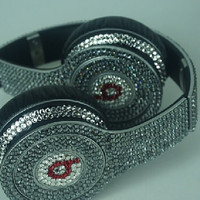 Beats by Dre Headphones made w Swarovski Elements Silver Chrome