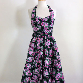 50s Inspired Rockabilly Halter Dress