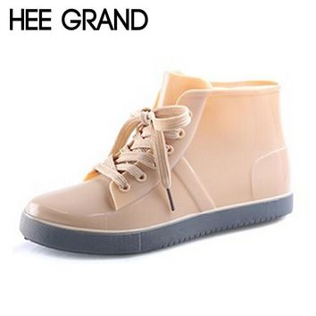 HEE GRAND Lace-Up Rain Boots Fashion Solid Flats Ankle Boots Casual Silver Women Boots