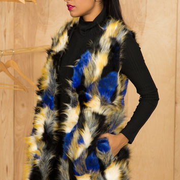 Feeling Blue Faux Fur Vest