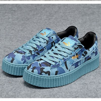 PUMA Women Casual Running Sport Shoes Sneakers Camouflage Blue