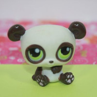 Littlest Pet Shop LPS #176 Brown and White Bear Green Eyes
