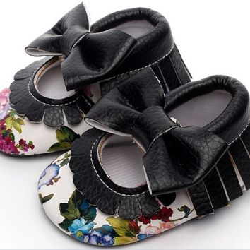 New PU leather 6 colors Floral Style Mary janes Baby Moccasins shoes girls Princess shoes soft sole infant shoes first walkers