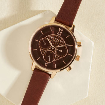 Key to Punctuality Watch in Mocha & Rose Gold - Big | Mod Retro Vintage Watches | ModCloth.com