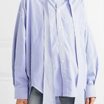 BALENCIAGA Swing printed striped cotton-poplin shirt