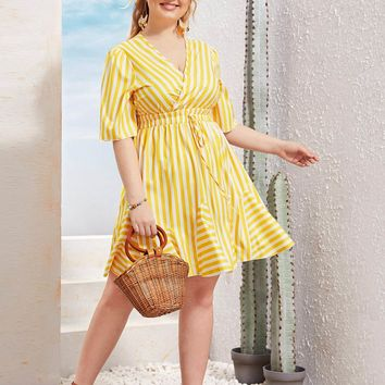 Plus Size Yellow V-Neck Striped Shirred Knot Dress