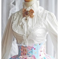 White Stand Collar Long Sleeve Ruffle Princess Lolita Blouse