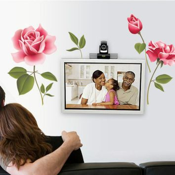 Romantic Pink Rose PVC Removable Wall Stickers Living Room Bedroom Art Wall Decorative Beauty Home Decor Stickers Wall Decals