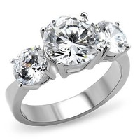 4.43 CT Past Present Future Brilliant CZ Stainless Steel Engagement Ring