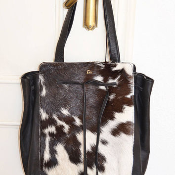 goat leather bag black leather bag, goat hair bag