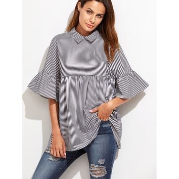 Black And White Striped Frill Sleeve Babydoll Top