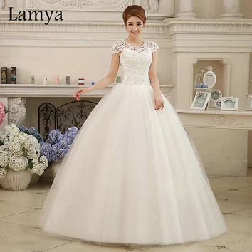 Custom Size Romantic Lace Wedding Dress 2016 Fashionable Short Bride Gowns Cheap Bridal Dresses vestidos de novia WD121