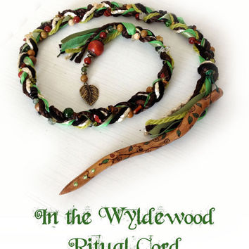 In the Wyldewood Ritual Cord - celtic shaman witch wand wicca wiccan witchcraft cingulum magic woodland meditation