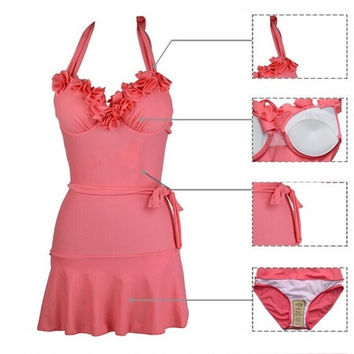 The new 2014 Fashion dress swimsuit  ,Sexy lace zone gathered type swimsuit, fashion bikini Strapless leopard bra + swimming trunks One-piece bathing suit (S/M/L) = 1958496260
