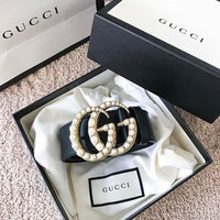 shosouvenir  GUCCI pearl Woman Fashion Smooth Buckle Belt Leather Belt black