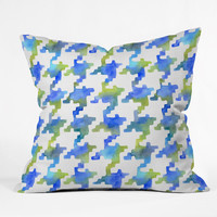 Betsy Olmsted Pixel Houndstooth in Cobalt Outdoor Throw Pillow