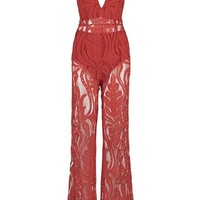 Honey Couture ORLA Red Lace V Neck Jumpsuit