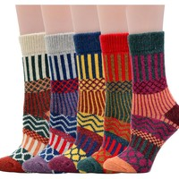 Women's Crew Socks Wool Thick Winter 5-Pack - Wave, Medium