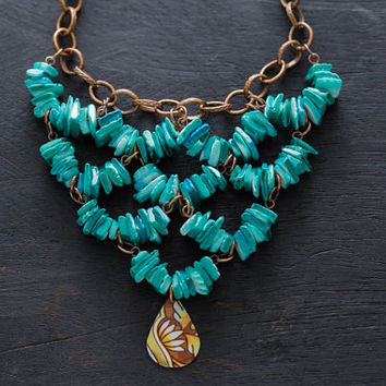 Vintage Tin Turquoise Bib Necklace with Bronze Tone Chain and Turquoise Colored Chip Beads, Brown and Teal Necklace, Vintage Tin Jewelry