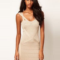 Lipsy Bodycon Bandage Dress In Lurex at asos.com