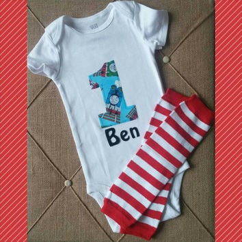 First Birthday Boy Thomas Train Onesuit - Personalized - Red Blue Boy Birthday - Cake Smash Outfit - Leg Warmers - Tie Onesuit - Second Birthd