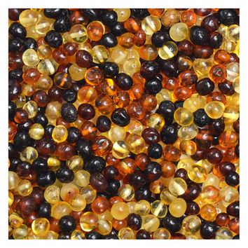 Baltic Amber Loose Beads - Mixed Colors - Polished  - 100 pcs - 100% Genuine Amber