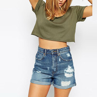 Plus Size Army Green Short Sleeve Crop Top