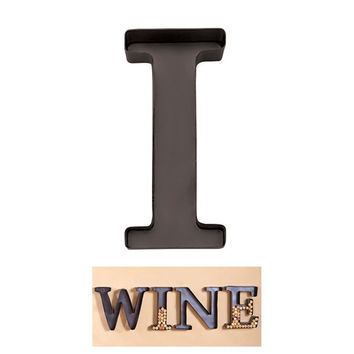"Personalized Letter ""I"" Metal Wall Wine Cork Holder - Monogram Wall Art"