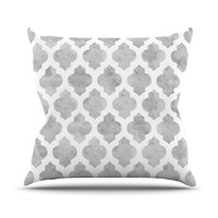 "Amanda Lane ""Gray Moroccan"" Grey White Outdoor Throw Pillow, 20"" x 20"" - Outlet Item"