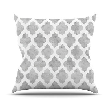 "Amanda Lane ""Gray Moroccan"" Grey White Outdoor Throw Pillow"