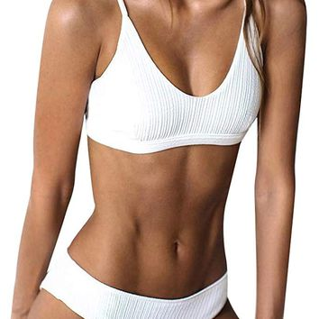 Women Ribbed Bikini Cheeky Bottom v Neck Brazilian Top 2 Piece Bathing Suits