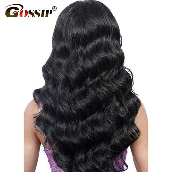 "Brazilian Body Wave Lace Front Human Hair Wigs For Black Women 8""-26"" Gossip Long Black Ponytail Swiss Lace Frontal Wig Non Remy"