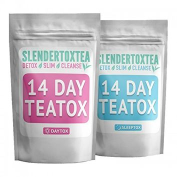 Slendertoxtea - 14 Day Daytox: 14 Premium Pyramid Teabags (No Loose Leaf), 100% Organic, No Laxative Effect, Increased Metabolism, Energy Boost, Appetite Suppressant, Reduced Bloating [Weight loss tea, Diet tea, Slimming tea, Diet Supplement, Detox & Green