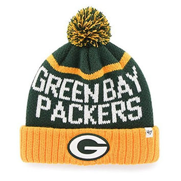 Green Bay Packers NFL '47 Brand Linesman Cuffed Pom Beanie Knit Hat