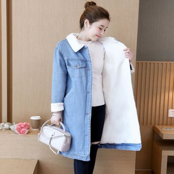 Warm Wool lining Women Basic Long Coats Autumn Winter Women Denim Jacket New 2018 Vintage Female Jeans Coat Casual Girls Outwear