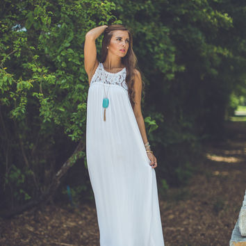 Boho Beach Maxi in White