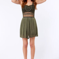 Lost Salton Crocheted Olive Green Dress
