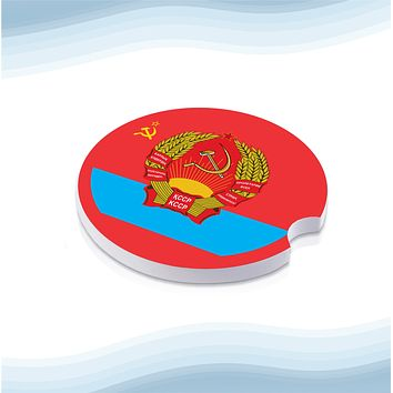 Kazakh Soviet Socialist Republic with Coat of Arms Car Cup Holder Ceramic Coasters (Set of 2)