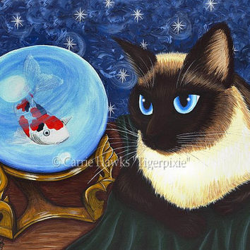 Siamese Cat Art Seal Point Siamese Cat Crystal Ball Koi Oriental Fortune Teller Fantasy Cat Art Print 8x10 Cat Lovers Art