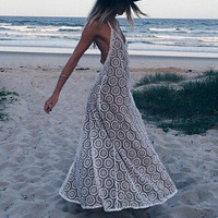 Summer Sea Vacation White Sexy Backless Lace Blouse Maxi Dress Prom Dress [4919471236]