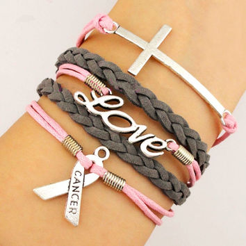Custom-Infinity Love Cross Breast Cancer Awareness Ribbon Bracelet