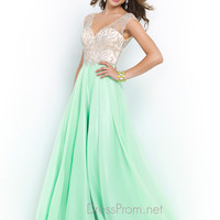 Blush Chiffon Floor Length Prom Dress 9915