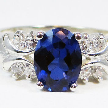 Oval Blue Sapphire and CZ Accent Ring Sterling Silver, September Birthstone Ring, Blue Sapphire Engagement Ring, 925 Multi Stone Ring