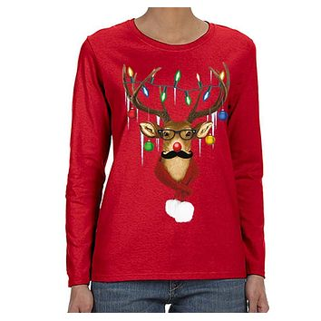 XtraFly Apparel Women's Reindeer Wearing Sweater Moustache Lights Ugly Christmas Long Sleeve T-Shirt