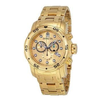 Invicta Scuba Pro Diver Chronograph Gold Dial Gold-tone Mens Watch 0074