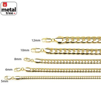 Jewelry Kay style 14K Yellow Gold Plated Width 5 6 8 10 12 mm Miami Cuban Link Chain Necklace 24""
