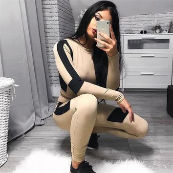 Women's Fashion Winter Casual Long Sleeve Pen Sports Sportswear Set [1449061744737]