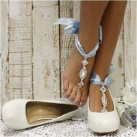 COSMOPOLITAN bow tie barefoot sandals - something blue